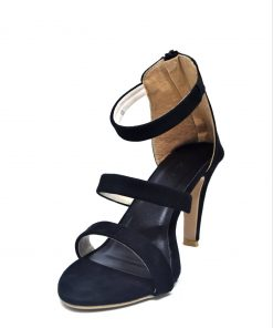 Black Color SOUL Open Toe Leather Stiletto Ankle Strap Heel Shoe