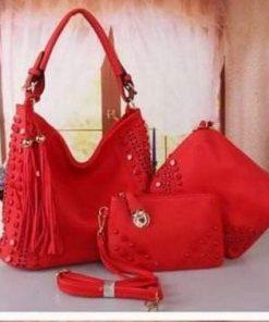 Trendy Looking PU Leather 3 in 1 Red Color Ladies Bag Set