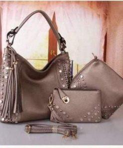 Girls Original PU Leather Bronze 3 in 1 Bag Set