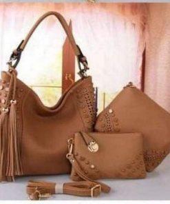 Ladies Light Brown Color Original PU Leather 3 in 1 Bag Set