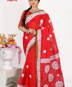 Red Color Original Cotton Ablik Printed Dhansiri Saree DS281