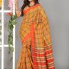 Original Gamcha Check Cotton Printed Saree DS 295