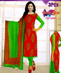Original Cotton Red And Green Color Bollywood Silver Long Unstitched Three Piece