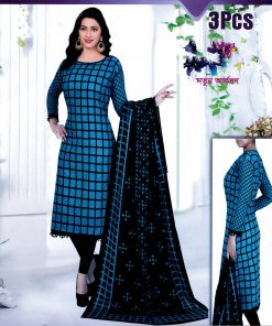 Trendy Deep Blue & Black Box Pattern Cotton Unstitched Bollywood Sewer Long Three Piece