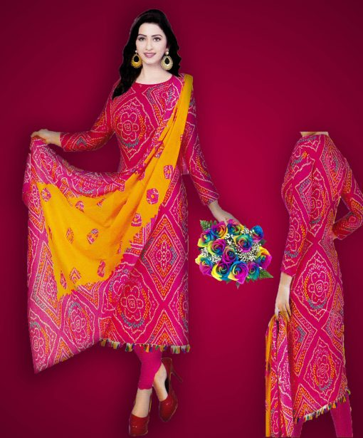 Comfortable Multi Color Cotton Unstitched Bollywood Silver Long Three Piece