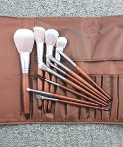Ladies brown color 11 piece makeup brush set