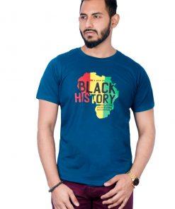 Black History নীল কালার ছেলেদের গোল গলা কটন টি শার্ট