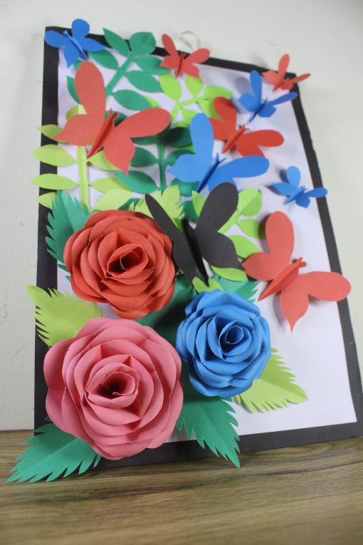 Rose Origami Multi Color Paper Photo Frame For Wall Hanging