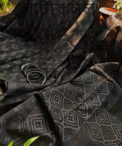 Girls Traditional Black Half Silk Block Print Sari