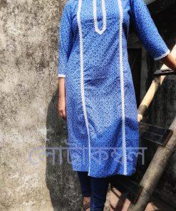 Casual Blue White Block Print Kushi Lace Design Single Kameez