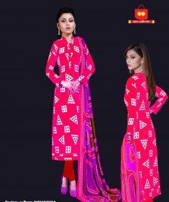 High Quality Batik Silver Long Cotton Unstitched Pink Color Three Piece