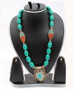 Ladies Sky Blue Color Stone Necklace