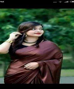 মেয়েদের কফি কালার সফট সিল্ক জাপানি শাড়ি