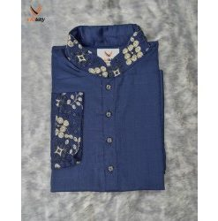 Semi Slim Fit Exclusive Navy Blue Color Cotton Punjabi