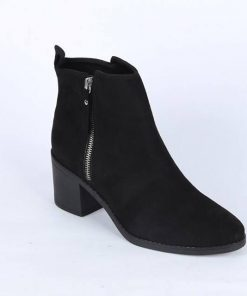 Girls Street Style Black Color Velvet Leather YKK Zipper Ankle Boot Heel Shoes