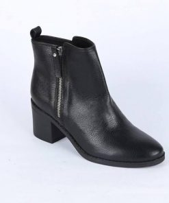 Premium Black Color PE Leather YKK Zipper Ankle Boot Heel Shoe For Ladies