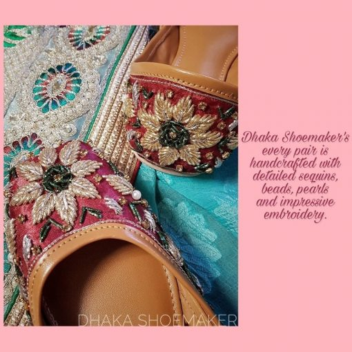 Mandala Custom Design Jewel Craft Work Nagara Shoes For Girls
