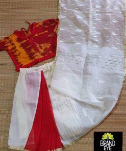 রেড এন্ড হোয়াইট কালার জামদানি শাড়ি কালেকশন ফর গার্লস