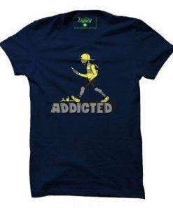 Brand New Round Neck Navy Blue Digital Printed Cotton T-Shirt