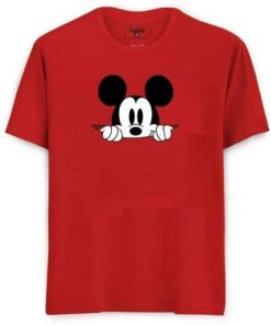 Boys Red Color Half Sleeve Mickey Mouse Printed Cotton T-Shirt