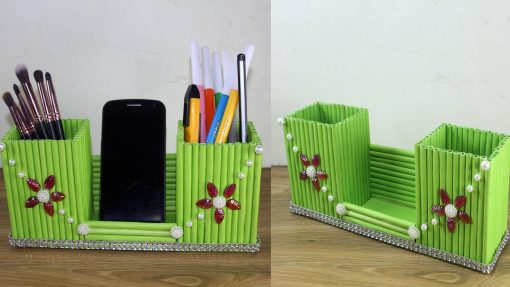 Stone Work Green Color Paper Made Pen Holder and Mobile Stand