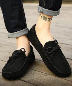 Stylish Black Color Mocassion Lace Up Leather Slipper Shoes For Girls