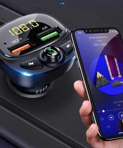 3.0 ব্লু টুথ 5.0 dc12v fm ট্রান্সমিটার মাল্টি ভল্টেজ মিটার ডুয়েল USB ফাস্ট কার চার্জার