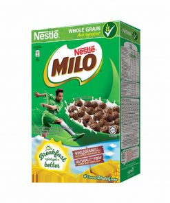 NESTLÉ MILO Breakfast Cereal made with whole grain. It gives a great chocolaty taste that kids love! Source of B Vitamins – Helps with release of energy from proteins, carbohydrates and fats. Source of Calcium – Required to build and maintain strong bones.