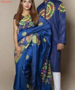 নীল রঙের অরিজিনাল ব্লক প্রিন্ট হাফ সিল্ক শাড়ি ও ধুপিয়ান পাঞ্জাবি কাপল সেট