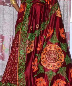 হাই কোয়ালিটি ফেব্রিক হাফ সিল্ক মাল্টি কালার ব্লক শাড়ি