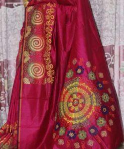 মেয়েদের ব্লক ডিজাইন স্টাইলিশ মাল্টি কালার হাফ সিল্ক শাড়ি