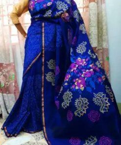 নীল রঙের স্টাইলিশ ব্লক প্রিন্ট হাফ সিল্ক শাড়ি