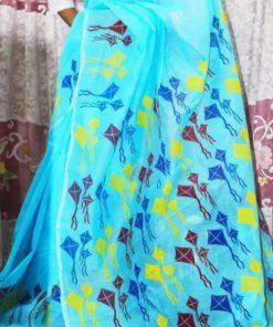 আকর্ষণীয় মাল্টি কালার ব্লক প্রিন্ট ডিজাইন স্কাই ব্লু হাফ সিল্ক শাড়ি