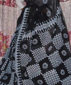 মেয়েদের সাদাকালো ব্লক প্রিন্ট সুন্দর হাফ সিল্ক শাড়ি