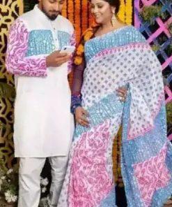কাপল কালেকশন মাল্টি কালার ব্লক প্রিন্ট শাড়ি এন্ড পাঞ্জাবি