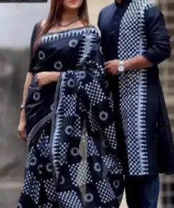 ব্ল্যাক এন্ড হোয়াইট হাফ সিল্ক শাড়ি এন্ড ইন্ডিয়ান ধুপিয়ান পাঞ্জাবি ফর কাপল