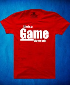 Life Is a GAME Play To Win প্রিন্ট লাল শর্ট স্লিভ কটন টি শার্ট