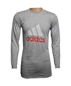ক্যাজুয়াল Adidas প্রিন্টেড ফুল হাতা সলিড অ্যাশ কালার কটন টি শার্ট