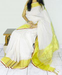 সিম্পল লুক সাদা শাড়ি হলুদ পাড় হাফ সিল্ক শাড়ি 106