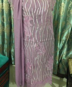 আকর্ষণীয় রঙের মসলিন এমব্রয়ডারি পিওর কটন লং থ্রি পিস