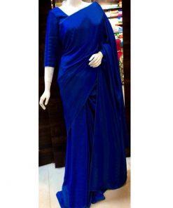 নীল রঙের ট্রেন্ডি স্টাইল জাপানি সফট সিল্ক শাড়ি