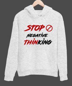 STOP NEGATIVE THINKING লাইট গ্রে ব্লেজার কটন হুডি ফর ম্যান MH-010