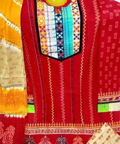 আকর্ষণীয় রঙের আরামদায়ক সুতি ব্লক প্রিন্ট ডিজাইনের থ্রি পিস