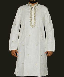 সাদা রঙের সিম্পল এমব্রয়ডারি ডিজাইন ইন্ডিয়ান সফট কটন পাঞ্জাবি 1424