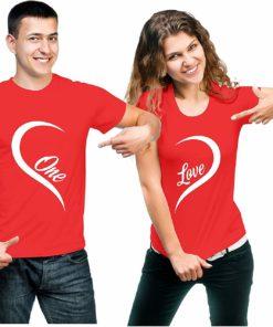 কাপল কটন রাউন্ড নেক টি শার্ট উইথ One Love প্রিন্ট 11