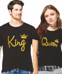 King এন্ড Queen প্রিন্টেড ব্ল্যাক কালার কটন রাউন্ড নেক টি শার্ট ফর কাপল 14