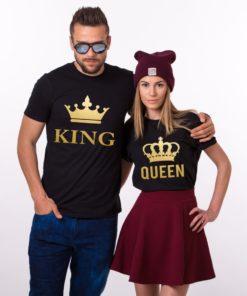 ফ্যাশনেবল King এন্ড Queen উইথ ক্রাউন প্রিন্ট কটন কাপল টি শার্ট 16