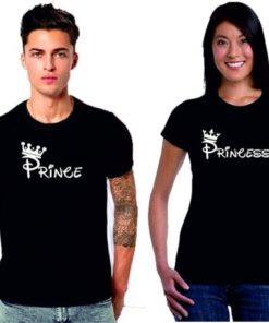 কাপল চয়েজ Prince এন্ড Princess প্রিন্টেড হাফ স্লিভ কটন টি শার্ট 06