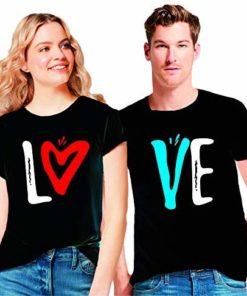 বিউটিফুল Love প্রিন্টেড কাপল কটন টি-শার্ট 389
