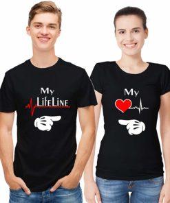 MY LIFE LINE প্রিন্ট কটন রাউন্ড নেক কাপল টি শার্ট 508